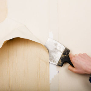 removal of old wallpapers with spatula
